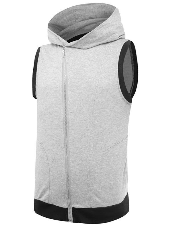 Shops Two Tone Asymmetrical Zip Up Hooded Vest