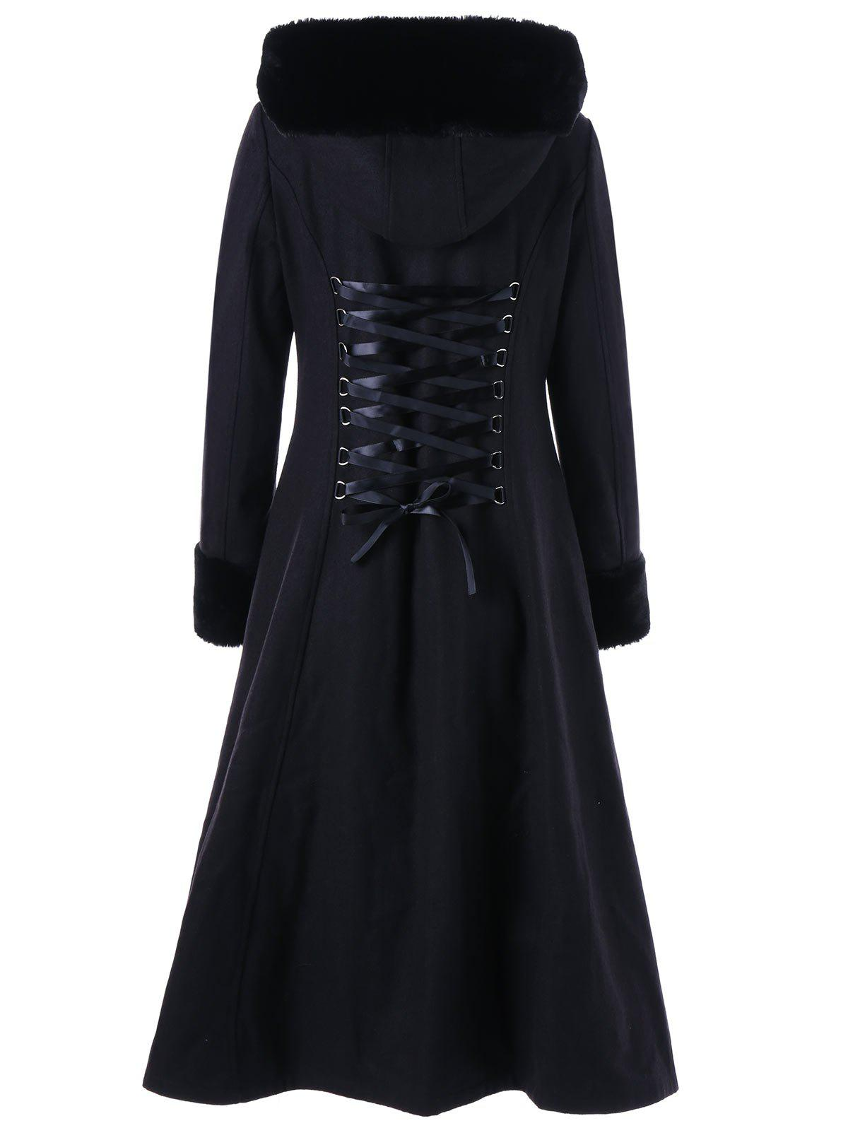 Hooded Longline Lace Up CoatWOMEN<br><br>Size: XL; Color: BLACK; Clothes Type: Wool &amp; Blends; Material: Polyester; Type: Slim; Shirt Length: Long; Sleeve Length: Full; Collar: Hooded; Pattern Type: Solid; Style: Gothic; Season: Fall,Spring,Winter; Weight: 1.2450kg; Package Contents: 1 x Coat;
