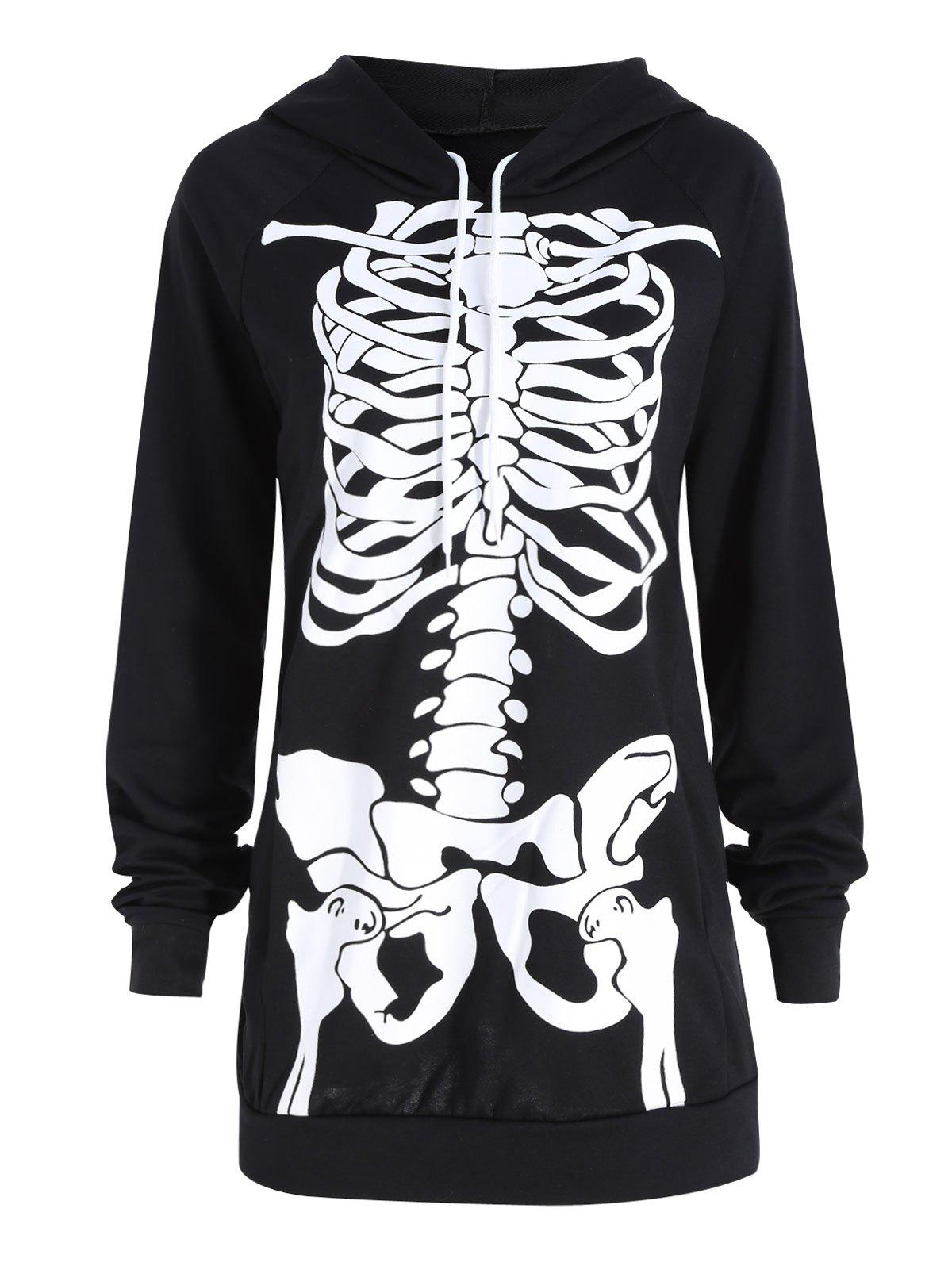 Halloween Plus Size Skeleton Printed HoodieWOMEN<br><br>Size: 5XL; Color: BLACK; Material: Cotton Blend,Polyester; Shirt Length: Regular; Sleeve Length: Full; Style: Fashion; Pattern Style: Print; Embellishment: Front Pocket; Season: Fall,Winter; Weight: 0.4100kg; Package Contents: 1 x Hoodie;