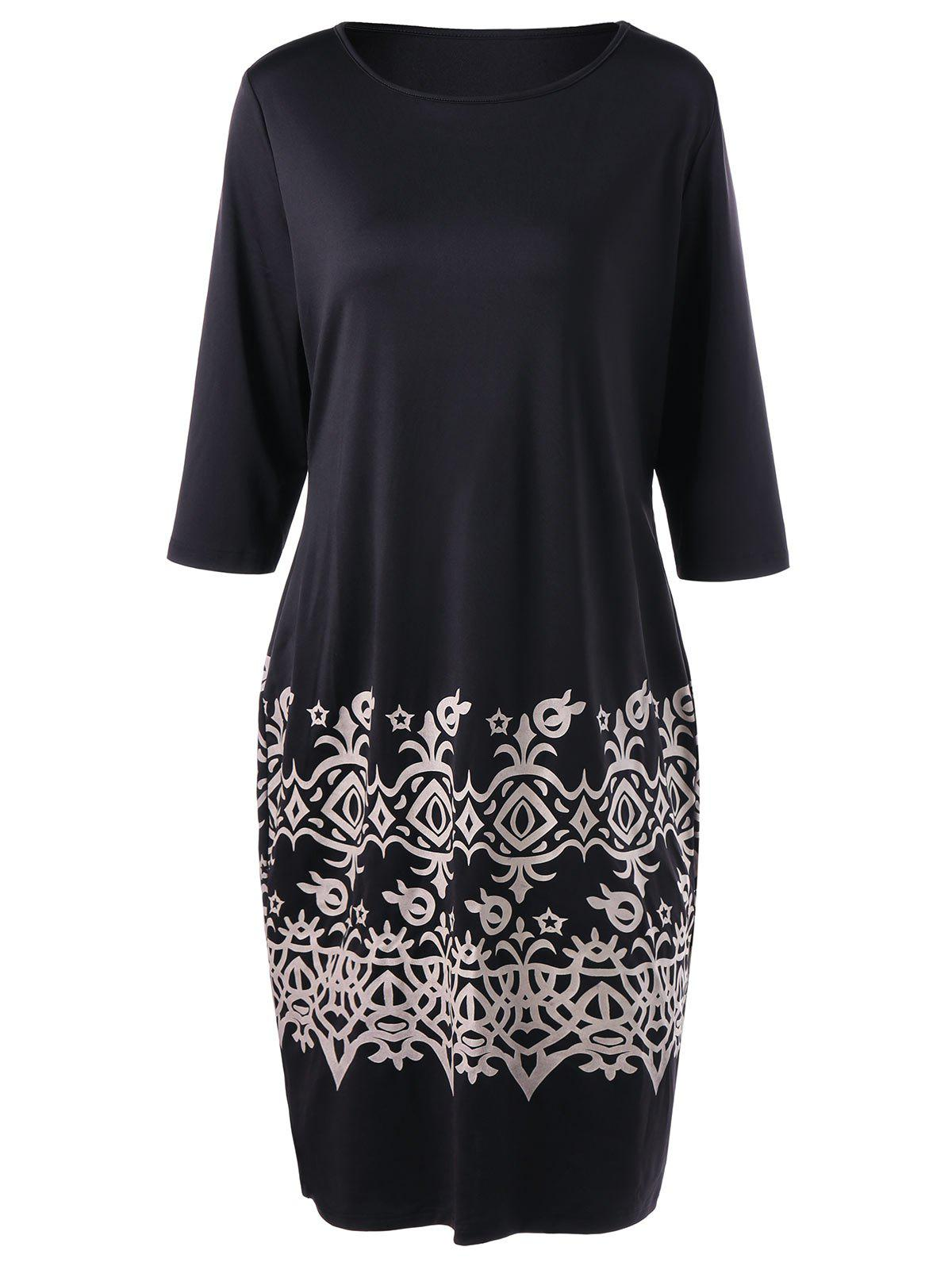 Plus Size Bandana Floral Slim DressWOMEN<br><br>Size: XL; Color: BLACK; Style: Brief; Material: Polyester,Spandex; Silhouette: Sheath; Dresses Length: Knee-Length; Neckline: Round Collar; Sleeve Length: Half Sleeves; Pattern Type: Print; With Belt: No; Season: Fall,Spring; Weight: 0.3200kg; Package Contents: 1 x Dress;