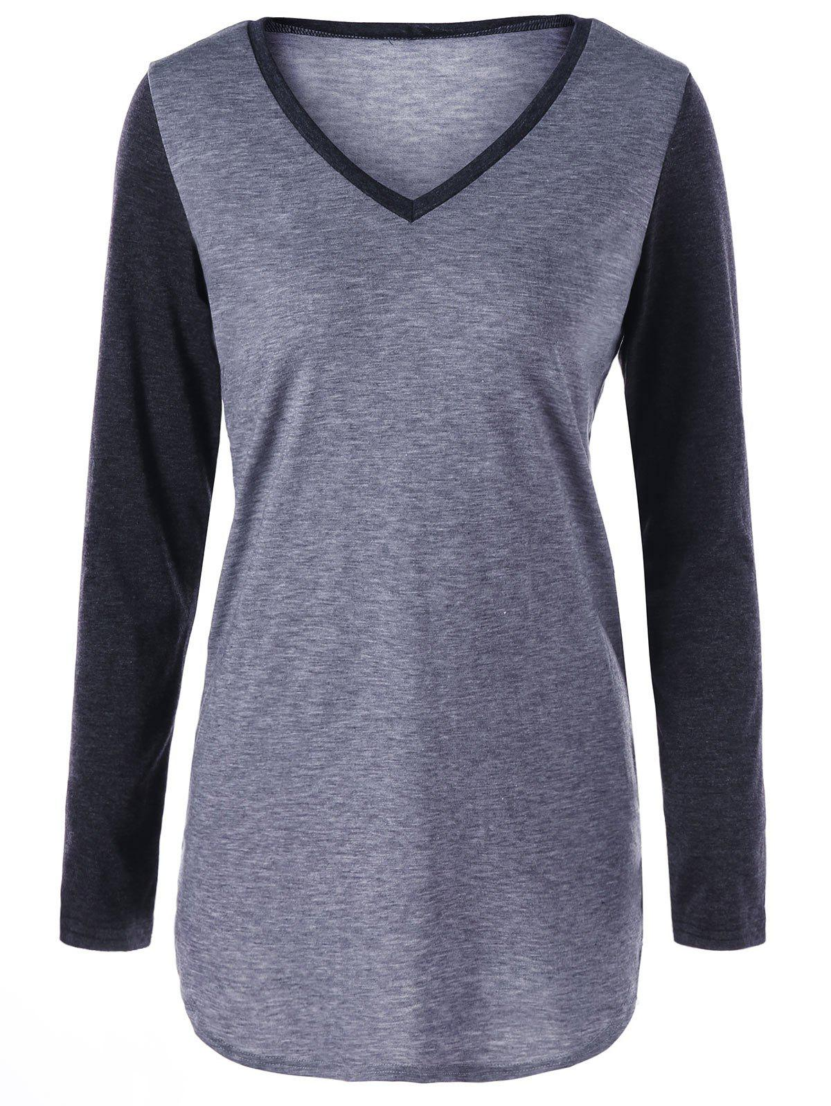 Trendy Two Tone V Neck Top