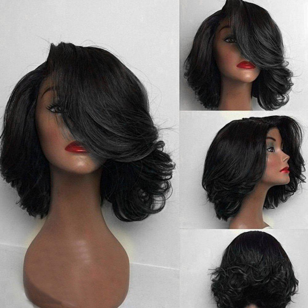 2019 Short Deep Side Part Flip Curly Feathered Bob Synthetic Wig