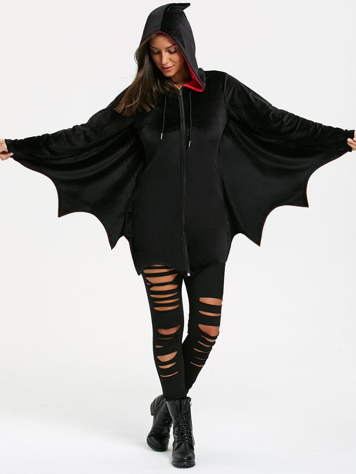 Halloween Bat Wing Wave Cut Zip Up HoodieWOMEN<br><br>Size: L; Color: BLACK; Material: Polyester,Spandex; Shirt Length: Regular; Sleeve Length: Full; Style: Fashion; Pattern Style: Solid; Elasticity: Elastic; Season: Fall,Spring,Winter; Weight: 0.6500kg; Package Contents: 1 x Hoodie;