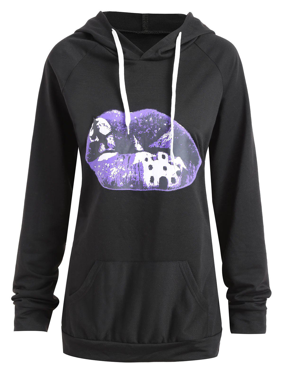Outfits Plus Size Halloween Moon Lip Print Hoodie