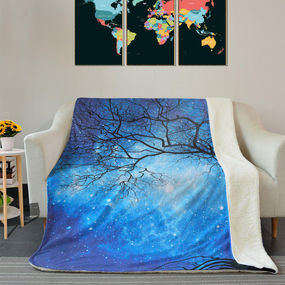 Sale Galaxy Tree Pattern Soft Fleece Thermal Blanket