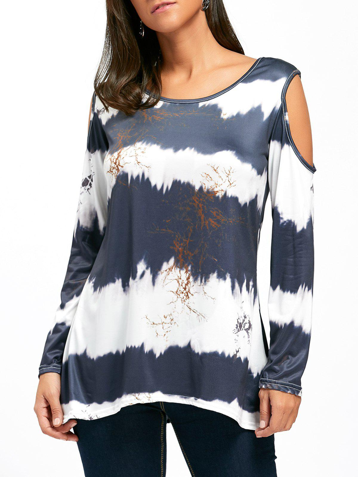 Store Long Sleeve Cold Shoulder Printed Tunic Top