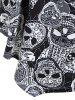 Plus Size Asymmetrical Halloween Skulls Print T-shirt -