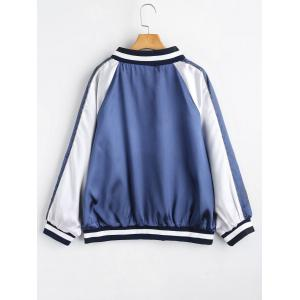 Plus Size Striped Zip Up Baseball Jacket -