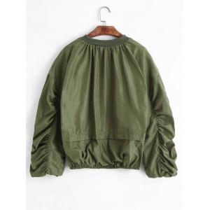 Puff Sleeve Plus Size Zip Up Jacket - ARMY GREEN 3XL