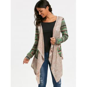 Geometric Print Long Sleeve Draped Cardigan -