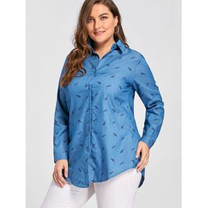 Plus Size Feather Printed Button Denim Shirt - BLUE 5XL
