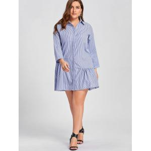 Robe à bout rayé taille taille taille dominante - Bleu 5XL