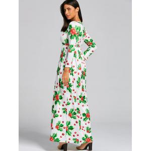 Christmas Berries Print A Line Maxi Dress - Vert M