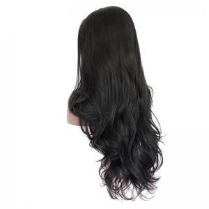 Long Side Parting Layered Slightly Curled Synthetic Lace Front Wig - BLACK