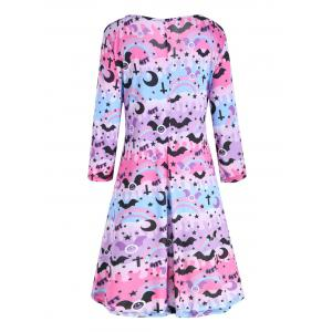 Lace Up High Low Plus  Size Halloween Dress - PINK AND PURPLE XL