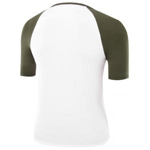 Two Tone Half Sleeve Raglan Tee - ARMY GREEN 2XL