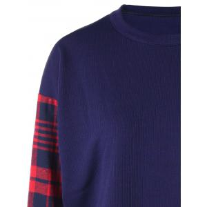 Plus Size Plaid Panel Curved Sweatshirt -