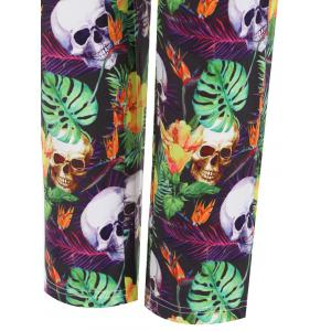 Plus Size Halloween Skull Flower Printed Pants -