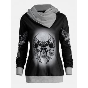 Halloween Skull and Wings Print Hoodie - GRAY 2XL