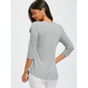 Lace Insert Lace Up Top - GRAY XL