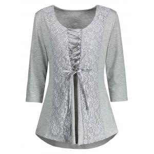 Lace Insert Lace Up Top - GRAY 2XL