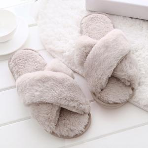 Open Toe Faux Fur Cross Strap Slippers - PINK SIZE(36-37)