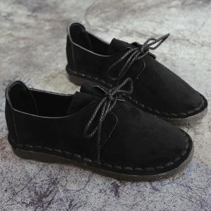Whipstitch Faux Suede Lace Up Flat Shoes - BLACK 36