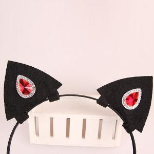 Faux Ruby Rhinestone Halloween Devil Hairband - BLACK