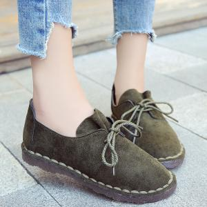 Whipstitch Faux Suede Lace Up Flat Shoes - Vert 39