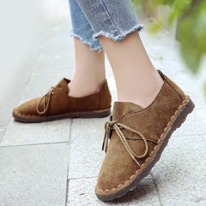 Whipstitch Faux Suede Lace Up Flat Shoes - COFFEE 39