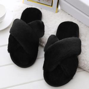 Open Toe Faux Fur Cross Strap Slippers -