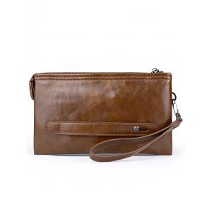 Faux Leather Zip Clutch Bag -