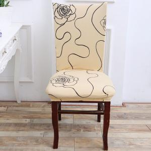 Rose Pattern Stretch Elastic Chair Cover -