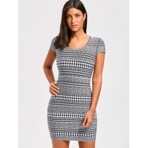Houndstooth Print Cap Sleeve Bandage Dress -