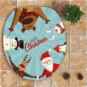 Nonslip Father Christmas Pattern 3Pcs Bathroom Mats Set - COLORFUL