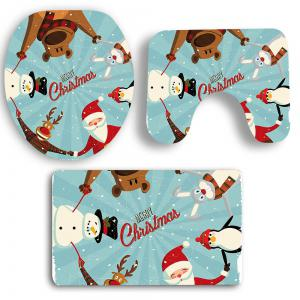 Nonslip Father Christmas Pattern 3Pcs Set de tapis de salle de bain -