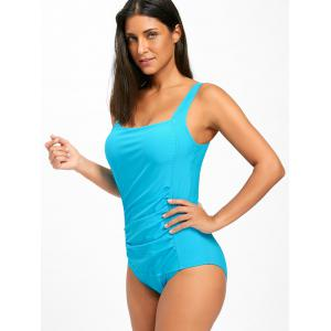 Square Neck One Piece Ruched Swimsuit - BLUE 2XL