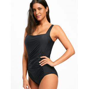 Square Neck One Piece Ruched Swimsuit - BLACK L