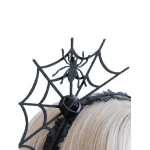 Spider Web Rose Flower Halloween Hairband -