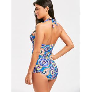Halter Print Backless Tankini Set - COLORMIX M