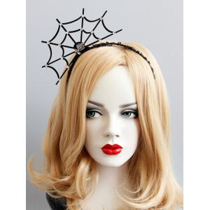 Spider Web Rose Halloween Lace Hairband - BLACK