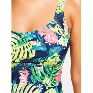 Tropical Print Padded Tankini Swimsuit - COLORMIX L