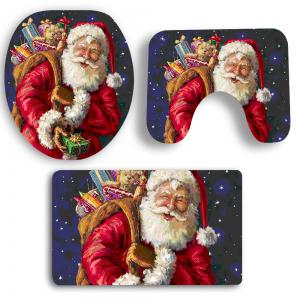 3Pcs Santa Claus and Gift Pattern Bathroom Mats Set -