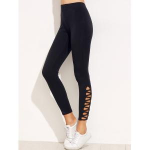 High Waist Skinny Sporty Yoga Leggings - BLACK S
