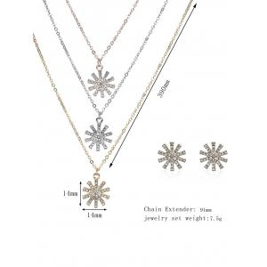 Rhinestoned Sun Layered Collier et boucles d'oreilles - Multicolore