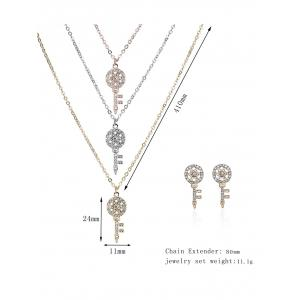 Rhinestoned Key Layered Collier et boucles d'oreilles -