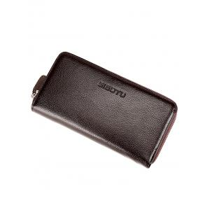 Zip Faux Leather Clutch Wallet -