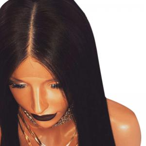 Ultra Long Middle Part Straight Synthetic Lace Front Wig - BLACK