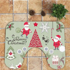 Nonslip Christmas Graphic Pattern 3Pcs Bathroom Mats Set -
