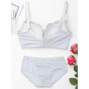 Push Up Plunge Bra Set with Lace - FROST 85C